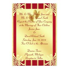 Red and Gold Valentine's Day Wedding Invitation