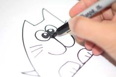 Simple step by step instructions for kids on how to draw a cat!
