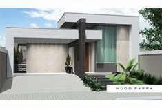 Photos of facades of simple and beautiful houses Modern House Facades, Modern House Plans, Modern Buildings, Modern Architecture, Villa Design, Facade Design, Exterior Design, Flat Roof House, Facade House