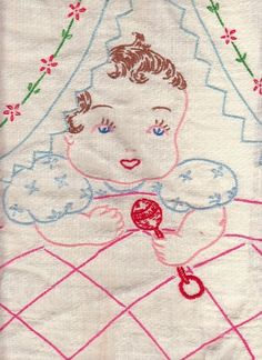 Vintage Hand Embroidered Baby Rattle Bassinet Quilt Coverlet Chevron Fringe. Very nicely done!