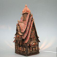 """Купить Терем-ночник """"Светозар"""" - коричневый, сказка, сказочный домик, теремок, терем, русская сказка"""