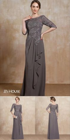 Mother Of The Bride Dresses Long, Mother Of Bride Outfits, Mothers Dresses, Hijab Dress Party, Party Wear Dresses, Lace Dress Styles, Wedding Dress Styles, Dress Lace, Long Chiffon Skirt