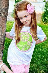 Flower Birthday Shirt Personalized Kids T-shirt for Girls Green & Pink | FUNKY MONKEY THREADS #FMT #funkymonkeythreads #pinkandgreen #girlbirthdayshirt