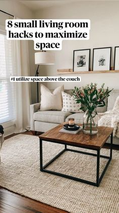 Living Room Hacks, New Living Room, Living Room Modern, My New Room, Small Living Rooms, Living Room With Beige Couch, Cream And Black Living Room, Bookshelf Living Room, Beige Couch Decor