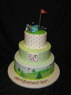I like bottom layer. And maybe put a green with hole and flag on top. Golf Cakes & Party (This is an affiliate link) Read more at the photo web link. Golf Birthday Cakes, Man Birthday, Golf Cakes, Golf Cake Toppers, Masculine Cake, Rugby Cake, Sports Themed Cakes, Cupcake Cakes, Cupcake Ideas