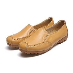 Leather Pure Color Casual Soft Sole Slip On Flat Shoes Loafers