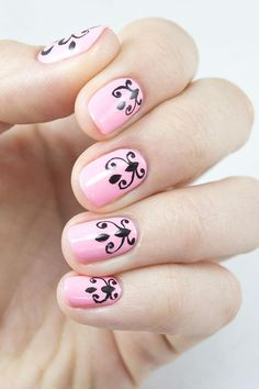 Give your nails a vintage feel with a modern twist using this easy tutorial for a damask nail design. Damask print is stunning on nails, because it's usually done with contrasting, standout colors for a classic nail design that's not going out of style anytime soon. - DivineCaroline.com