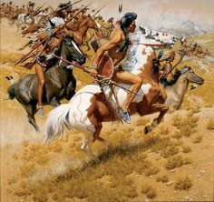 Ready to defend. American Indian Wars, Native American Print, Native American Warrior, Native American Wisdom, Native American Pictures, Native American Artwork, Native American Artists, Eskimo, Plains Indians