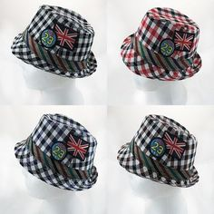 Cute Kids Boys//Girls Toddler Hipster Fedora Hat Plaid Striped Fun USA Patches OS