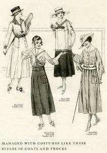 """free printable digital image design resource ~ vintage women's wartime fashion, from Aug 1917 issue of """"The Delineator"""" magazine 1918 Fashion, Edwardian Fashion, Fashion History, Retro Fashion, Vintage Fashion, Fashion Fashion, Medieval Fashion, Fashion Spring, Cheap Fashion"""