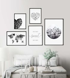 Black and white gallery wall,Home sweet home sign,Printable wall art,Black and white prints,Mountain Home Wall Decor, Living Room Decor, Bedroom Decor, Dining Room, Black And White Wall Art, Floral Wall Art, Printable Wall Art, Printable Vintage, Decorating Your Home