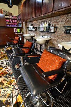 Steve Hightower hair salon, Atlanta, GA original photo taken by me, where I used to work Design Salon, Salon Interior Design, Small Salon Designs, Office Designs, The Body Shop, Salon Shampoo Area, Small Hair Salon, Shampoo Bowls, Home Salon
