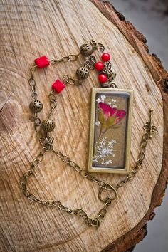 Rose Bud Pressed Flower Necklace  by NaturalFlowerJewelry on Etsy, $25.00