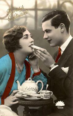 tea for two - vintage hand-tinted postcard