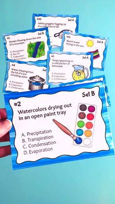 Water Cycle Task Cards includes 32 task cards that show water cycle concepts in everyday life, including evaporation, condensation, and precipitation. Water Cycle Activities, Weather Activities, Science Activities, Weather Crafts, Science Experiments, Teaching Jobs, Teaching Science, Teaching Resources, Elementary Teaching