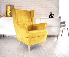 Miękki i pluszowy sztruks, fotel bardzo ciepły i wygodny.Idealny do salonów.Fotele robimy w najróżniejszych tkaninach.Tutaj fotel żółty w tkaninie sztruks
