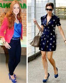 Blazer Pink com Blusa Azul e Calça Preta + Sapato Azul  Vestido de gaivotas