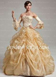 Ball-Gown Strapless Floor-Length Organza Quinceanera Dress With Ruffle Beading Sequins (021017537)