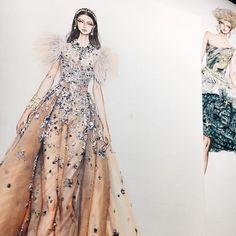 6,171 отметок «Нравится», 50 комментариев — Eris Tran (@eris_tran) в Instagram: «!! @eliesaabworld haute couture spring 2017. #sketch #sketching #draw #drawing #fashion…»