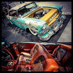 1957 Chevrolet Rat Rod with clean engine bay and leather interior.