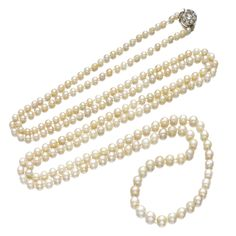 PROPERTY FROM THE ESTATE OF THE LATE MARQUESS OF ANGLESEY: Natural pearl and diamond necklace, one pearl cultured, late 19th century. Composed of a graduated row of natural pearls, one pearl cultured, accented with a diamond cluster clasp.