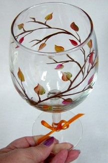 Fall Leaves Wine Glass Hand Painted by ConniesCreations2010, $10.00