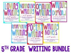 Hey busy friends,Whew- Writing can be a challenging subject, but with this bundle of writing units, ensure that you will meet all of the standards and save your valuable time!  By purchasing the units as a bundle you save OVER 20%!  In this bundle you will find 7 units with everything you could possibly need to teach a year of 5th grade writing!Included in this unit:- Detailed Daily Lesson Plans {OVER 170 lessons to cover the entire year of writing!}- Student Notebook Pages- Writer's…