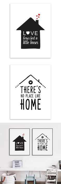 Black White Nordic Minimalist Houses Love Quotes A4 Canvas Art Print Poster Wall Picture Painting Home Kids Room Decor $5.99
