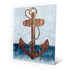 """Click Wall Art Wood Anchor Painting Print Size: 14"""" H x 11"""" W x 0.04"""" D"""