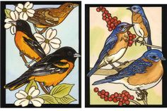 Favorite Birds Stained Glass Coloring Book by Ruth Soffer - Dover Publications - ORIOLE AND BLUEBIRD