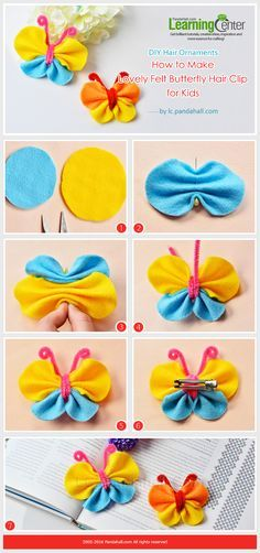 frhlingsdeko basteln avec des coton demaquiller DIY Hair Ornaments - How to Make Lovely Felt Butterfly Hair Clip for Kids from : Felt Flowers, Diy Flowers, Fabric Flowers, Fabric Bows, Ribbon Crafts, Fabric Crafts, Sewing Crafts, Sewing Ideas, Sewing Diy