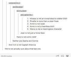 AOT/SNK - We're not sure about that last one... I'm, like, 87.3% sure that Erwin is Captain America...