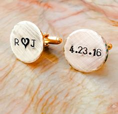 Gold Brass Personalized Cuff Links - Copper Custom Cuff links - Silver tone personalized Cufflinks - Your Name, Quote, Hand Stamped Gifts For Fiance, Gifts For Him, Copper, Brass, Special Words, Hand Art, Engagement Gifts, Photo Jewelry, Leather Cuffs