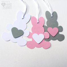 Items similar to Bunny Rabbit Gift Tags. Cardstock bunnies with hearts. Pink Grey White, other colors available. on Etsy Easter Party, Easter Gift, Easter Crafts, Foam Crafts, Diy And Crafts, Crafts For Kids, Pinwheel Wedding, Moldes Para Baby Shower, Diy Ostern