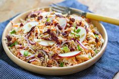 Pimped-Up Celeriac Slaw with Pancetta & Pine Nuts