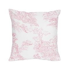 Sweet Jojo Designs French Toile Square Throw Pillow in Pink/White
