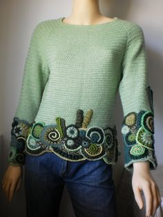 Mint sweater Freeform Crochet. The color isn't me but I love the design!