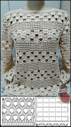 Crochet Shirt, Crochet Cardigan, Crochet Lace, Crochet Tops, Easy Crochet, Crochet Stitches Patterns, Crochet Designs, Mode Crochet, Crochet Diagram