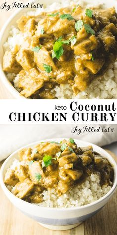 Curry powder simmers with fresh ginger and garlic for an easy, one-skillet chicken dinner that's bursting with flavor! This healthy coconut chicken curry is naturally low-carb and gluten-free, but tastes like true comfort food! Lunch Recipes, Diet Recipes, Healthy Recipes, Dessert Recipes, Shrimp Recipes, Slow Cooker Keto Recipes, Chicken Recipes, Hot Sauce Recipes, Recipes Dinner
