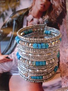 Vintage Silver & Turquoise Hand Beaded Cuff by TheWAREHOUSEShelf