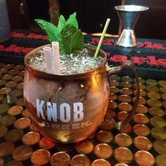 Kentucky beer mule byDeven Barabé CANADA  1 1/2 ounce knob creek bourbon  3/4 ginger syrup  3/4 lemon juice  Crushed ice  Topped with a tiny bit of Samuel adam's beer  Garnish with fresh mint bouquet  #cocktailsaroundtheworld #sharingiscaring