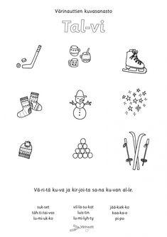 Finnish Language, Speech Therapy, Kindergarten, Preschool, Diagram, Education, Seasons, Winter, Educational Crafts