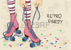pattinare: Illustrazione con gambe femminili in pattini a rotelle retrò su uno…
