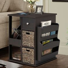 All in One 2 Drawer Revolving Side Table/Cabinet
