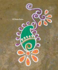 Margazhi Month Kolam – Spiritual and Scientific reasons behind that! Small Rangoli Design, Rangoli Designs Diwali, Beautiful Rangoli Designs, Kolam Designs, Simple Rangoli, Alpona Design, Temple India, Diwali Craft, Krishna Images