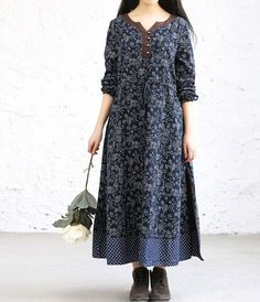 Loose Fitting womens Floral Long dress by MaLieb on Etsy: