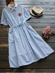 Floral Patched Button Up Striped Dress - LIGHT BLUE ONE SIZE