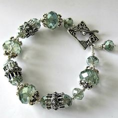 Crystal beaded bracelet sea green crystals by PacificJewelryDesign, $85.00
