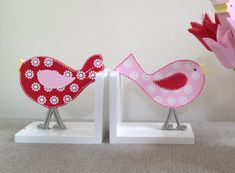 Bird Bookends - Bookends, Childrens Bookends, Girls Bookends in Cherry Red/Pink