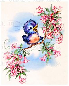 Happy little bluebird - vintage illustration, card